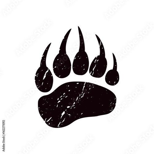 Obraz A trace a bear. Black silhouette of paw on a white background. Vector. The imprint of a bear s foot. Logo of the footprint. - fototapety do salonu
