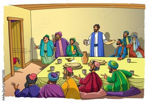 Judas runs from the Room and ran to betray of Jesus Christ Fototapeta