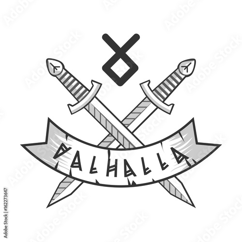 Valhalla isolated logotype with crossed monochrome swords and rune Wallpaper Mural