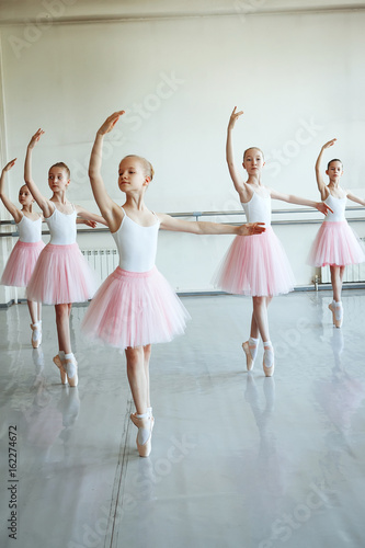 8f965cc58 Cute little ballerinas in pink ballet costume and pointe shoes is ...