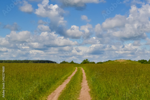 Fototapety, obrazy: Country road through the field. Sky with clouds