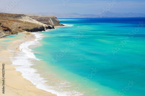 Beach with amazing water colors on Fuerteventura, Spain.