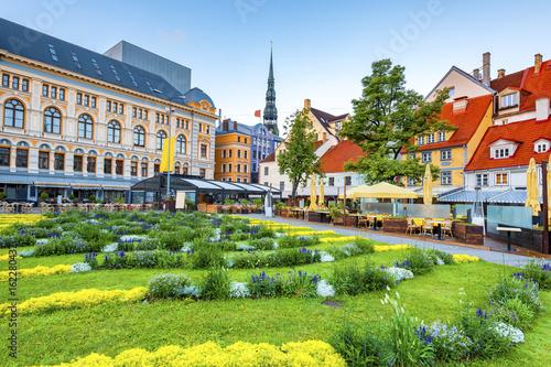 Fototapeta Livu square is a major tourist sightseeing of old Riga