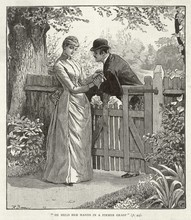 Couple Lingering At A Garden Gate. Date: 1890