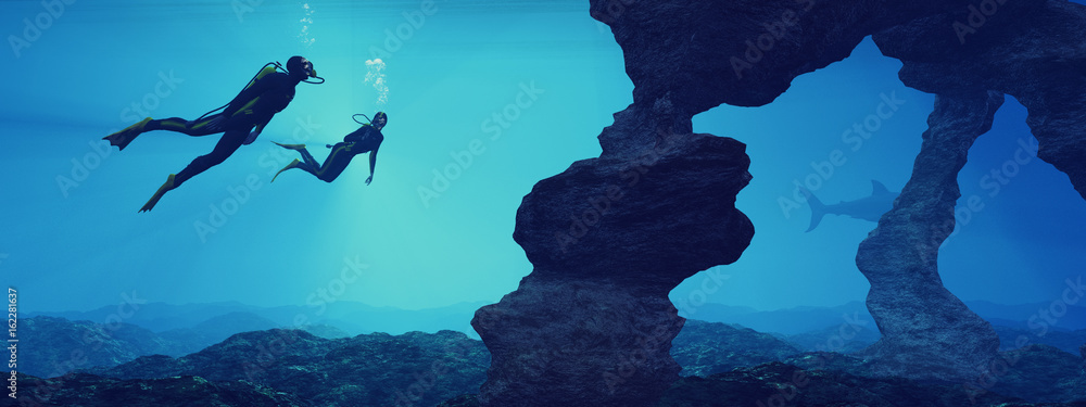 Fototapeta Teenagers  swimming