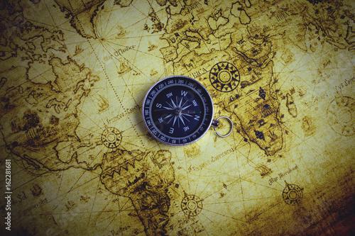 Obraz na płótnie kompas i mapa