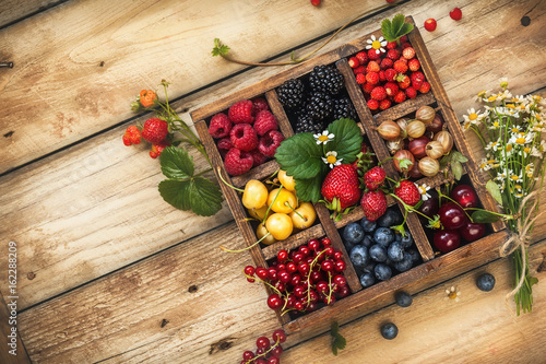 Assorted berries in box.