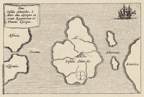 Photo Map of Atlantis - Kircher. Date: 17th century.