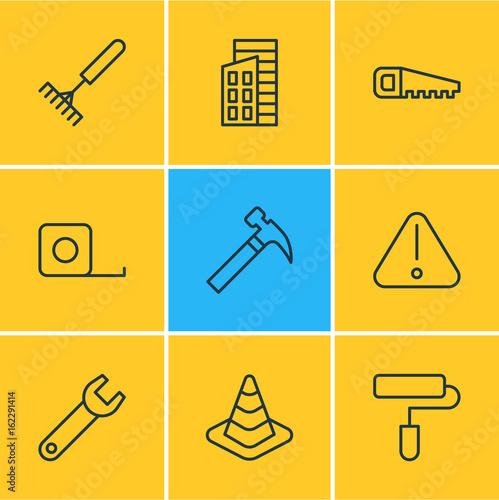 Fotografía  Vector Illustration Of 9 Structure Icons