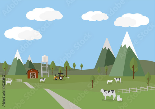 Poster Gris Rural landscape with cows and farm background of flat style