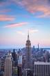 Sunset view New York City from midtown Manhattan