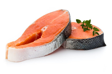 Fototapeta salmon steak close-up isolated on white background