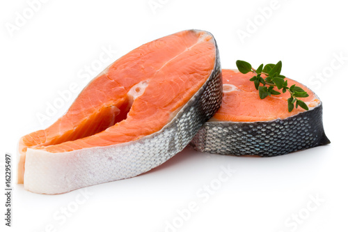 Photo sur Aluminium Poisson salmon steak close-up isolated on white background