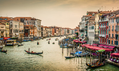 Fototapeta Do hotelu Canal Grande at sunset with retro vintage effect, Venice, Italy