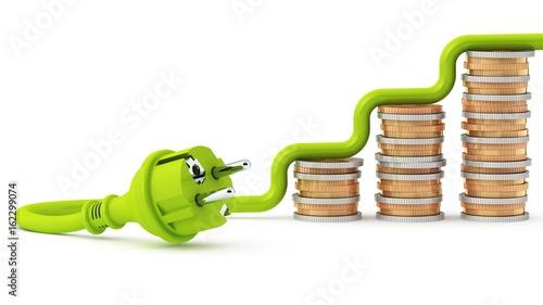 Photo  Grüner Stecker - Entwicklung der Strompreise