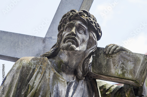 Jesus Christ Carrying the cross (fragment of statue) Canvas Print