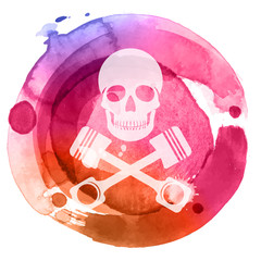 Skull with crossed pistons on watercolor background