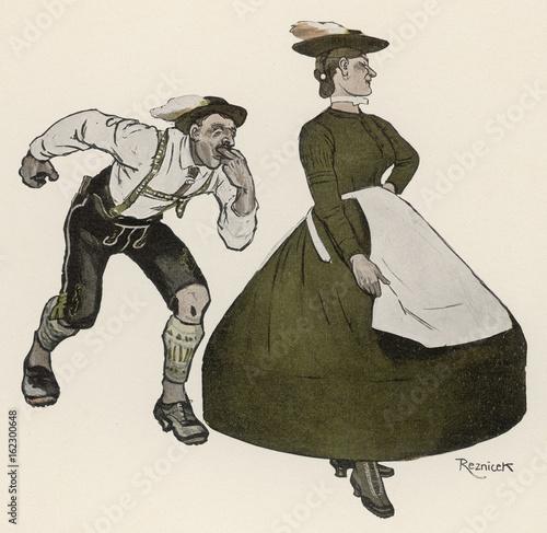 Bavarian Dance - 1908. Date: 1908 Canvas Print