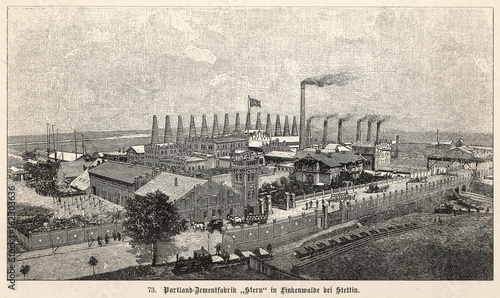 Fotomural  Cement Factory. Date: 1899