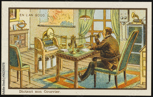 Fotografie, Tablou Futuristic dictation machine. Date: 1899