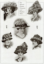 Edwardian Floral And Feathered Hats 1909. Date: 1909
