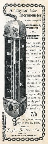 Obraz na plátně Taylor Thermometer - 1897. Date: 1897