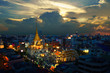 Wat Traimit Witthayaram Worawihan at sunset, Temple of the Golden Buddha in Bangkok, Thailand