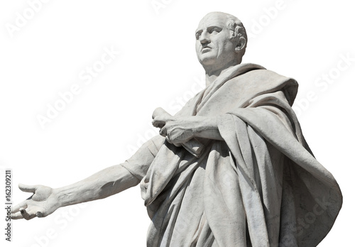 Foto  Cicero, ancient roman senator statue (isolated on white background)