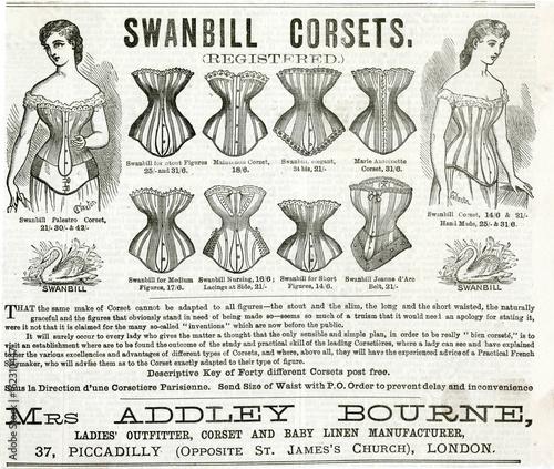 Fotografia Advert for Swanbill corsets 1879. Date: 1879