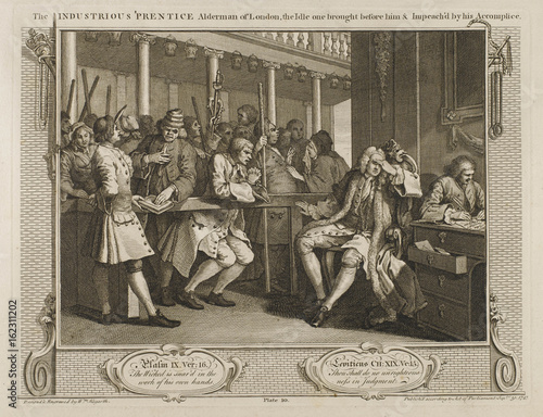 Hogarth - Industry - Idle 10. Date: 1747 Canvas Print