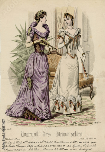 Fotografie, Obraz  Ball Dress 1891. Date: 1891