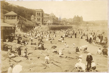 19th Century Scarborough Beach  Yorkshire. Date: 1890s