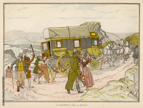 Fotografie, Obraz  French passengers - 1825. Date: 1825