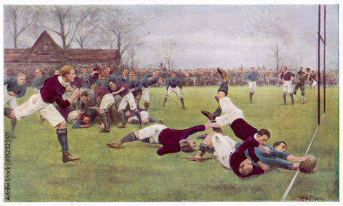 Photo Rugby Try Scored 1897. Date: 1897