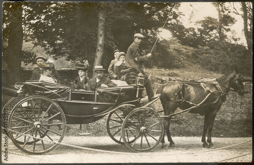 Photo Family Carriage Outing. Date: early 20th century