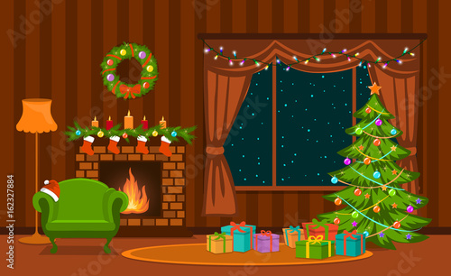 Photo  Christmas living room with xmas tree, lights, presents, fireplace, armchair, dec