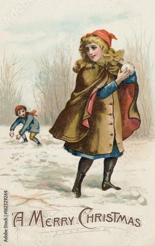 Poster Gypsy Girl Snowballing. Date: circa 1890