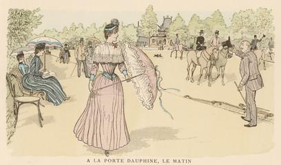 Fototapeta na wymiar Raising Hat Paris. Date: 1890