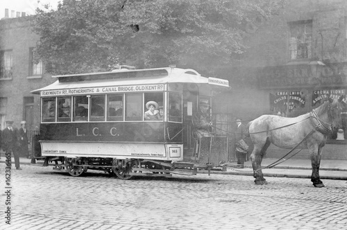 Horse-Drawn Tram (1913). Date: 1913 Canvas Print
