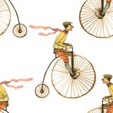 Akwareli ilustracja mężczyzna na rowerowym bezszwowym wzorze odizolowywającym na białym tle - 162341042