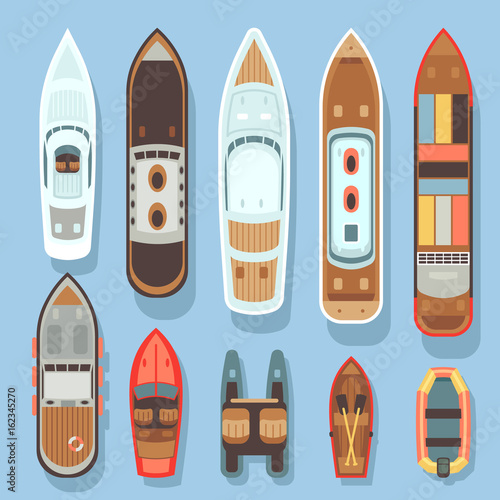Fotografia  Top aerial view boat and ocean ships vector set