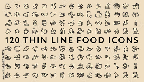 Big Set of 120 Thin Line Stroke Food Icons. Meat, milk, seafood, pasta, soup, bread, egg, cake, sweets, fruits, vegetables, drinks, nutrition, pizza, fish, sauce, cheese, butter, pie, nuts, snacks