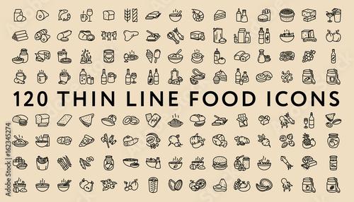 Fényképezés  Big Set of 120 Thin Line Stroke Food Icons