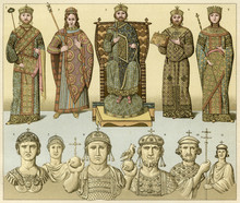 Byzantine Royals - Racinet. Date: 7th To 11th Century