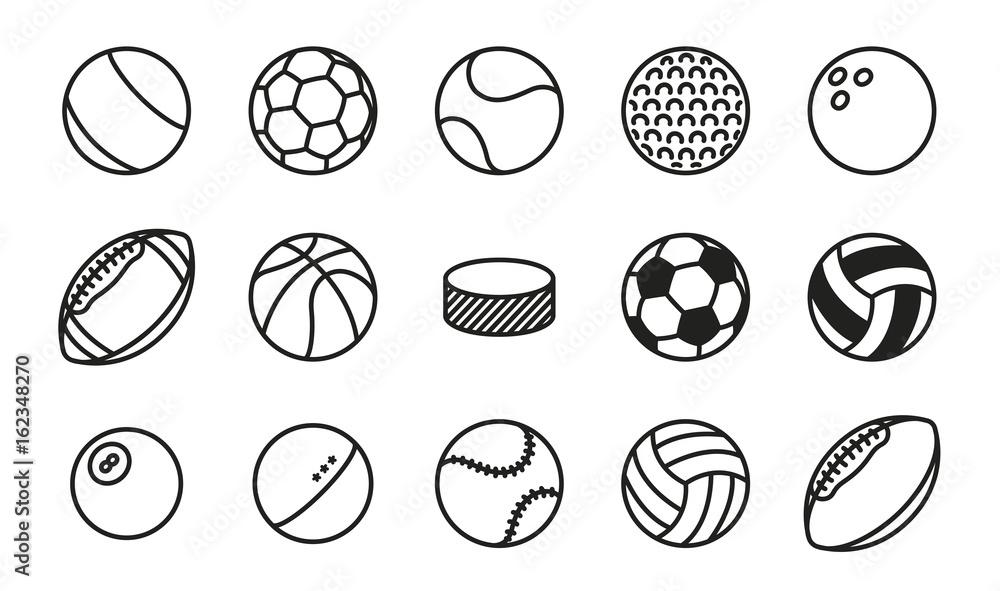 Fototapety, obrazy: Sports Balls Minimal Flat Line Vector Icon Set. Soccer, Football, Tennis, Golf, Bowling, Basketball, Hockey, Volleyball, Rugby, Pool, Baseball, Ping Pong