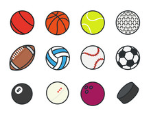 Sports Balls Minimal Color Flat Line Vector Icon Set. Soccer, Football, Tennis, Golf, Bowling, Basketball, Hockey, Volleyball, Rugby, Pool, Baseball, Ping Pong