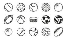 Sports Balls Minimal Flat Line Vector Icon Set. Soccer, Football, Tennis, Golf, Bowling, Basketball, Hockey, Volleyball, Rugby, Pool, Baseball, Ping Pong