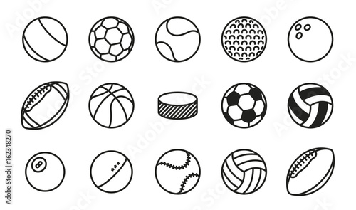 Fotobehang Bol Sports Balls Minimal Flat Line Vector Icon Set. Soccer, Football, Tennis, Golf, Bowling, Basketball, Hockey, Volleyball, Rugby, Pool, Baseball, Ping Pong