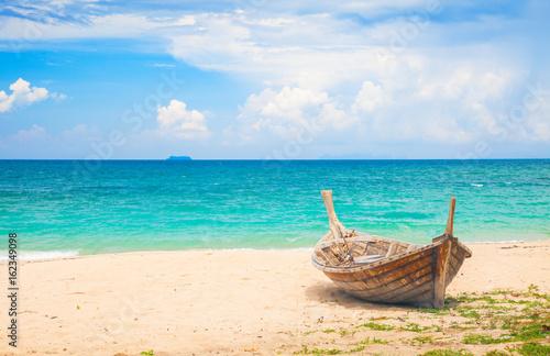 Fototapeta beach and fishing boat, koh Lanta, Thailand