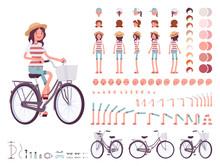 Young Woman Cycling City Bike....